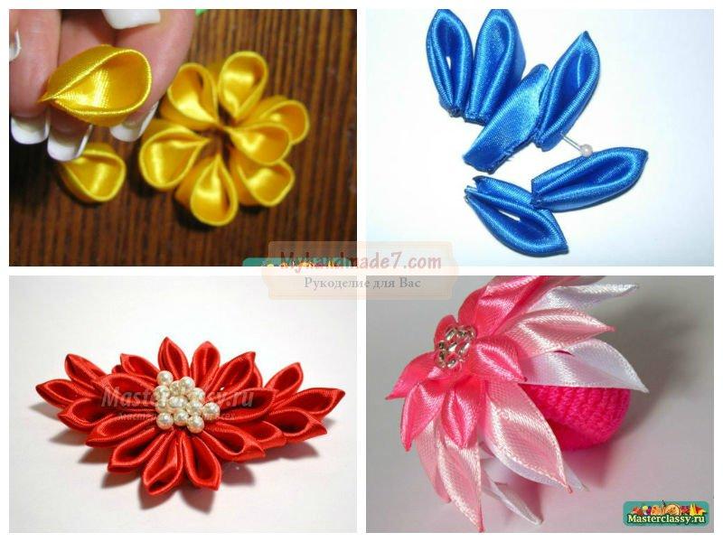 Как сделать цветы из ленты канзаши своими руками пошагово 95