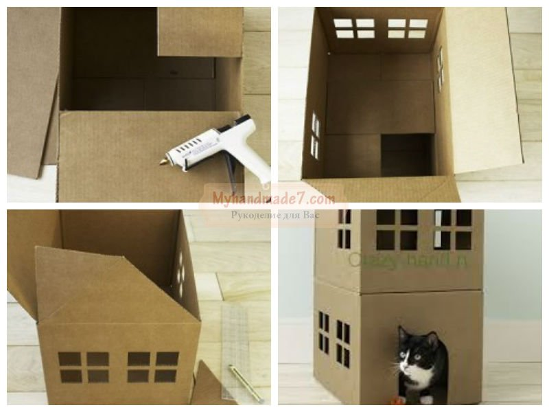 Дома для кошек из коробки своими руками 56