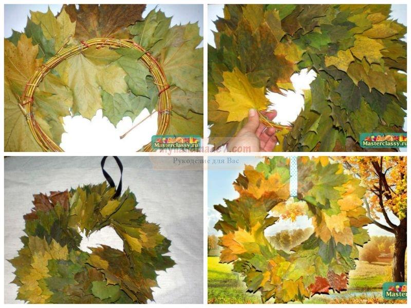 Венок из листьев осенних своими руками 15