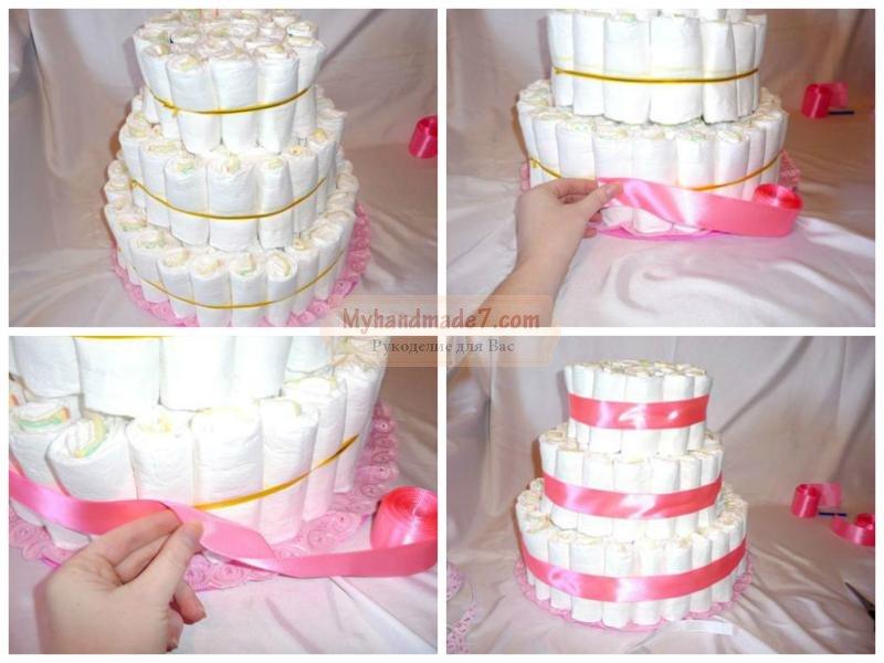 Торт из памперсов для девочки своими руками пошагово маленький фото 64