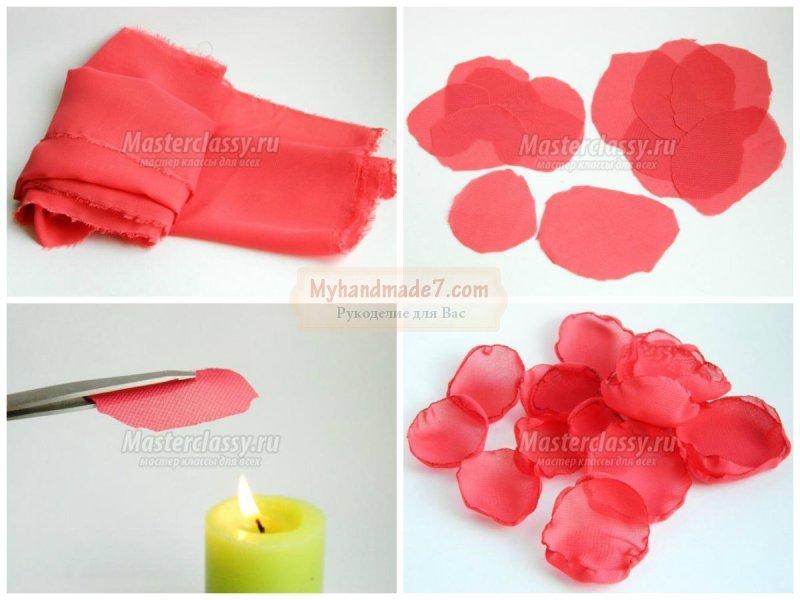 Как сделать своими руками цветочки из ткани 93