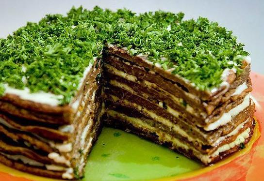 Пирог из печени слоями рецепт с фото