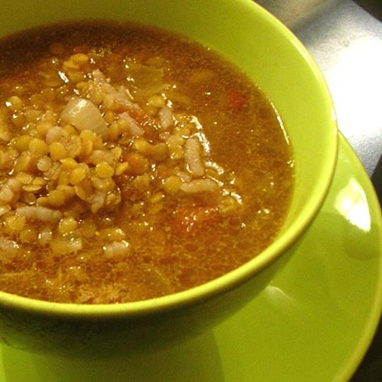 Диетичесеий суп из красной чечевицы