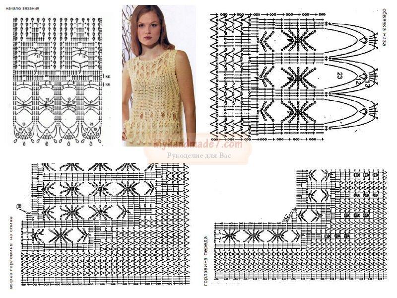 Схемы вязания крючком для летней кофты 412