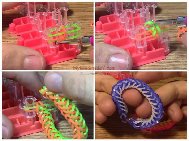 Плетение на станке из резинок по фото