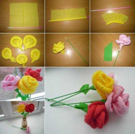 Как сделать розу из салфетки своими руками поэтапно