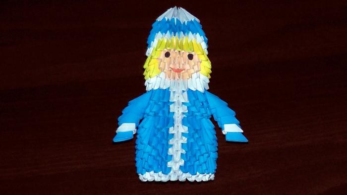 модульне орігамі новорічні снігурка