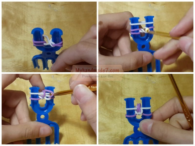 Как сделать браслет из резинок на рогатке сердцебиение