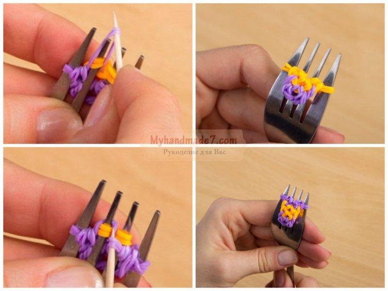 Как сделать браслет из резинок поэтапно на рогатке