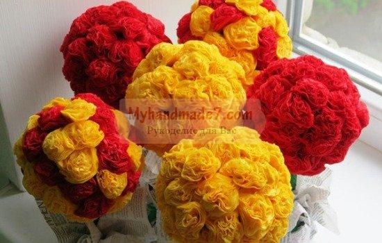 Букет из цветов своими руками из салфеток