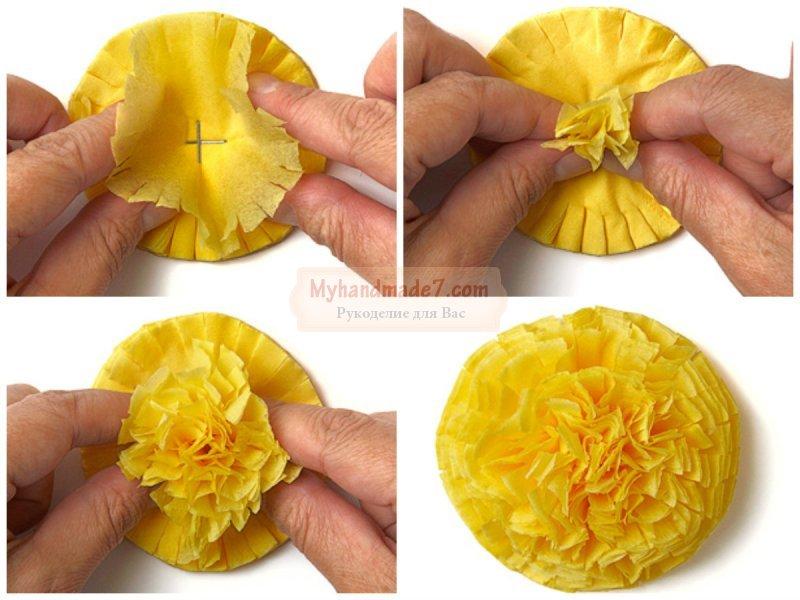 Как из салфеток сделать розу для цифры 957
