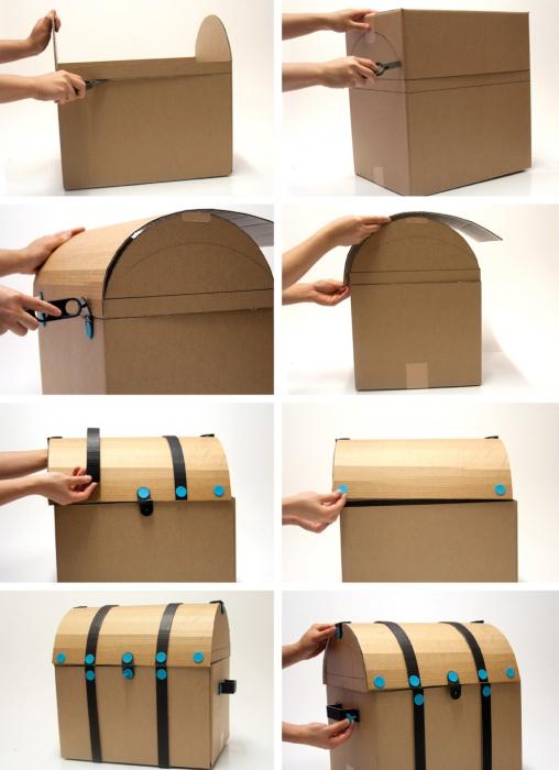 Как сделать сундук из картона своими