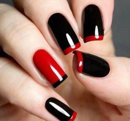 Красно черный маникюр фото френч