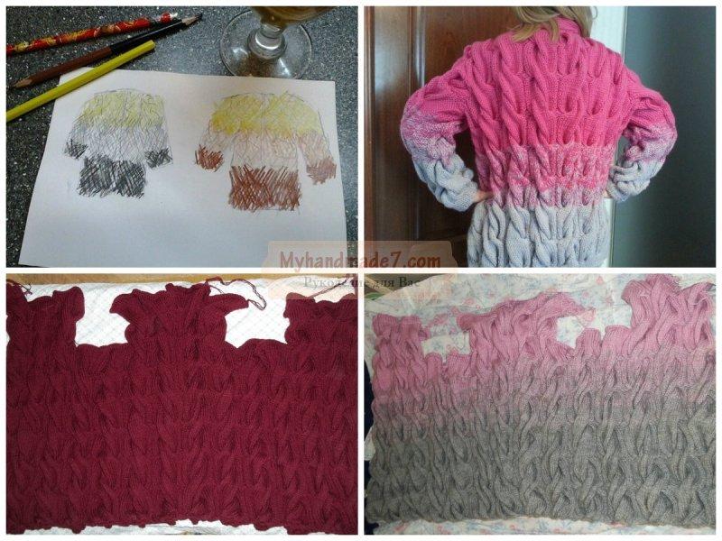 Переход цвета в вязании спицами схема 64
