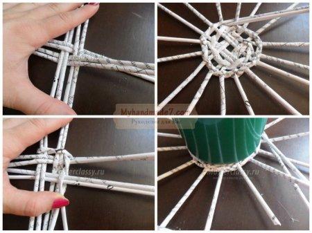 Как сделать плетёную корзинку из бумаги своими руками 54