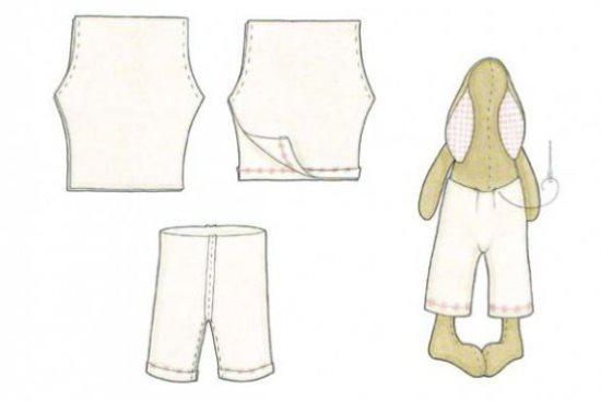 Одежда для Тильды зайца : штанишки платье и свитерок