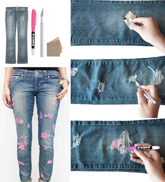 Как сделать дырки на джинсах своими руками 80