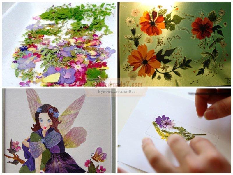 Панно из осенних листьев и цветов своими руками 14