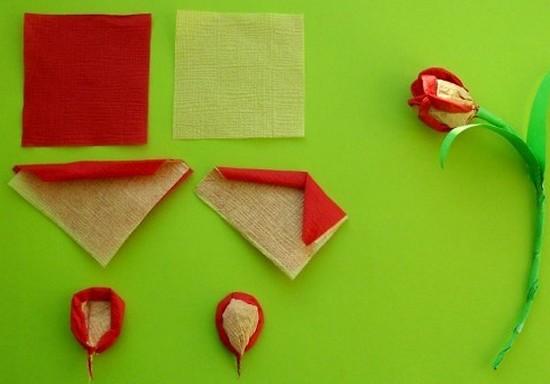 Тюльпаны из салфеток своими руками пошаговое фото 36