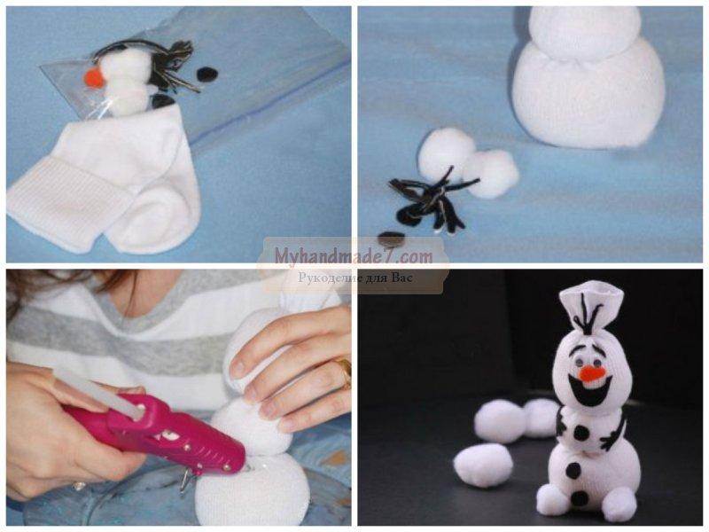 Снеговики из носочков своими руками пошаговая инструкция 98