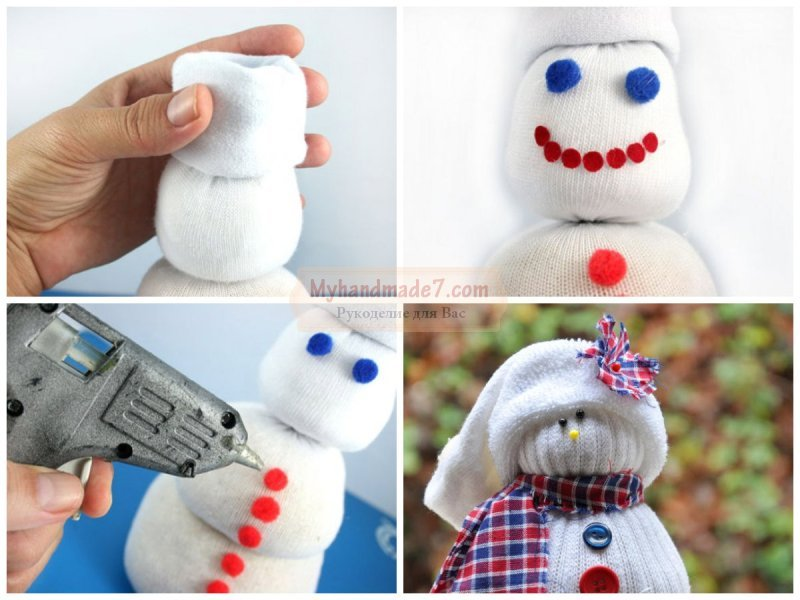 Снеговик из своими руками из носков 30