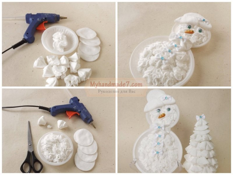 сделать снеговика из ваты наименование