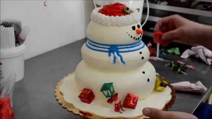 Оригинальное оформление торта снеговик фото