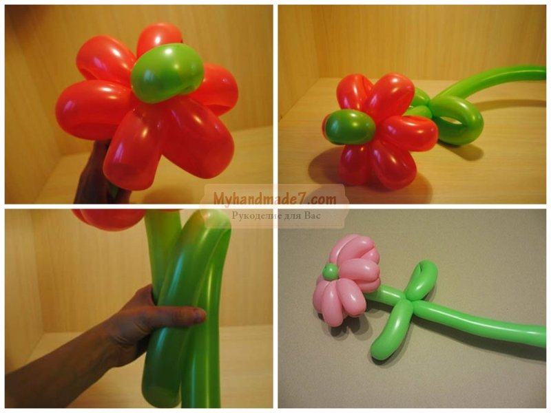Своими руками сделать цветок из шаров 2