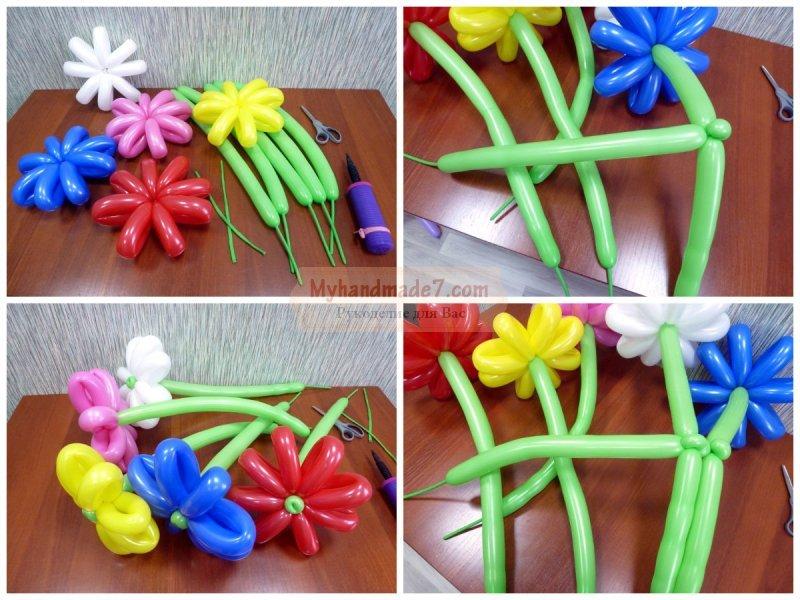 Своими руками сделать цветок из шаров 30