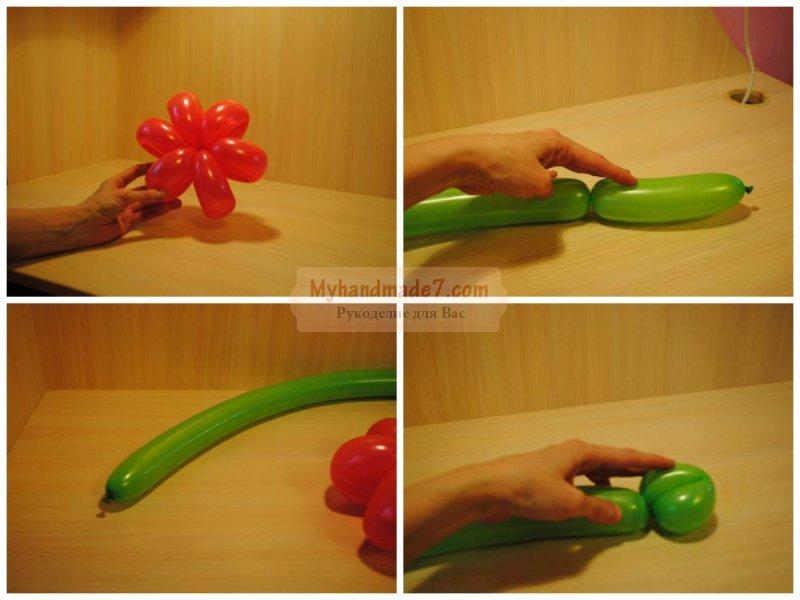 Как сделать стебель для цветка из шариков 913