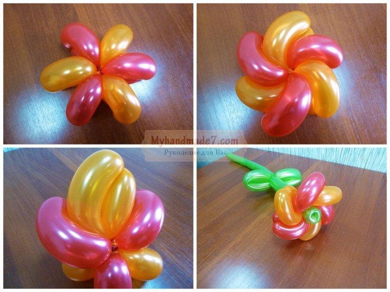 Своими руками сделать цветок из шаров 88