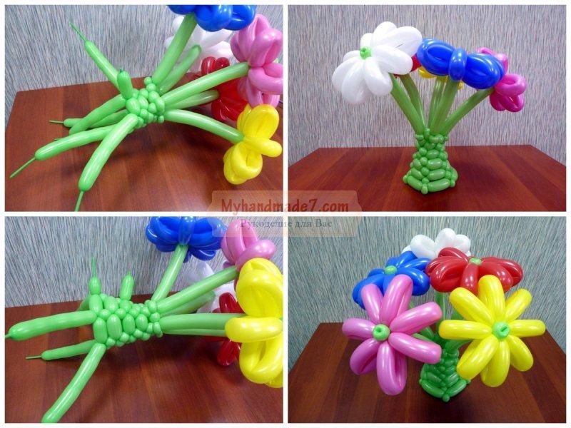 Своими руками сделать цветок из шаров 69