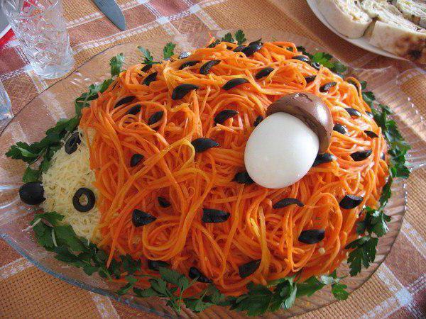 Салат ежик рецепт с корейской морковью