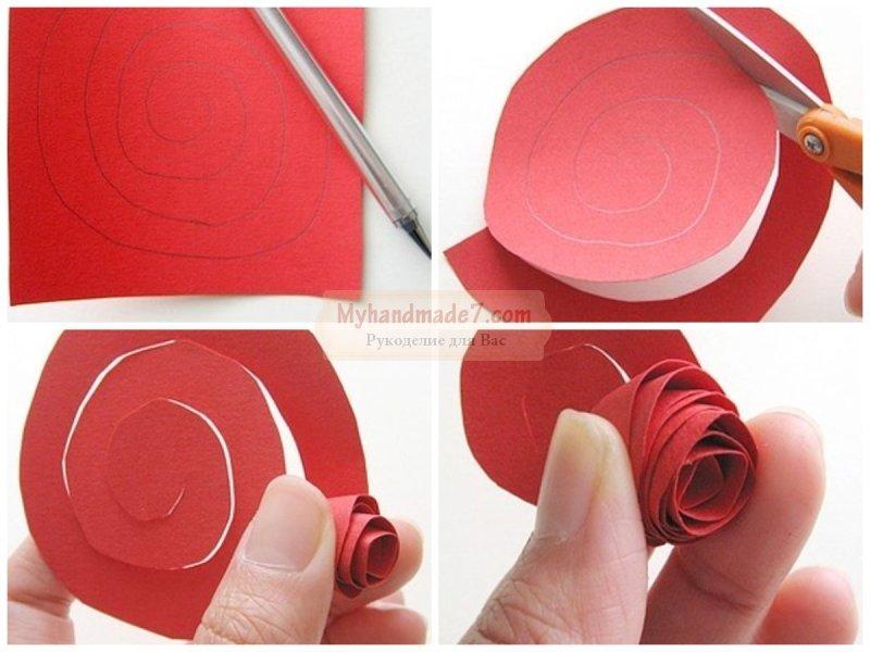 Как сделать из бумаги розочку своими руками 17