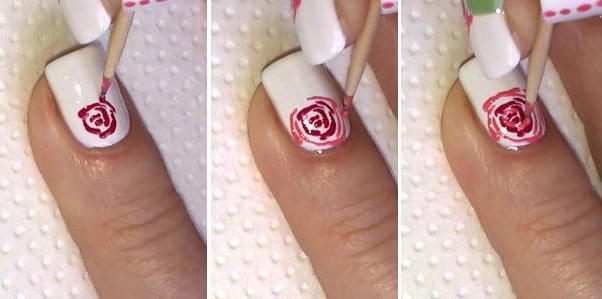 Розочка на ногтях поэтапно