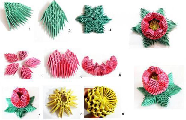 Модульные оригами схемы сборки цветок
