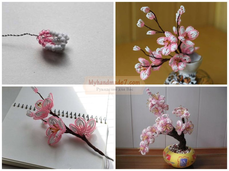 Цветы сакуры из бисера схема цветка
